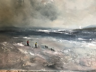 seascape beach Cornwall dogs people men lighthouse waves surf