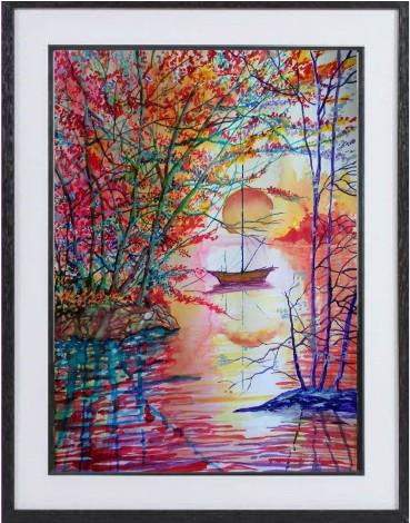 framed boat sunset