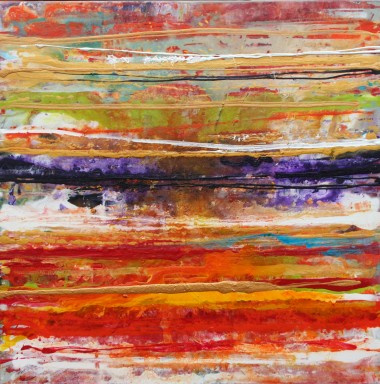 Detail of modern abstract wave painting on wall
