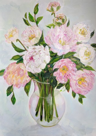Fluffy Peonies in a Vase