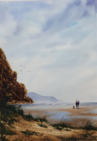 Original Watercolour painted by Ricky Figg  - The Beach Walkers
