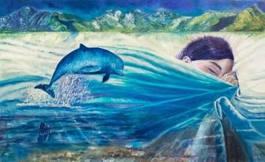 dolphin_blue_sea_sleeping_girl