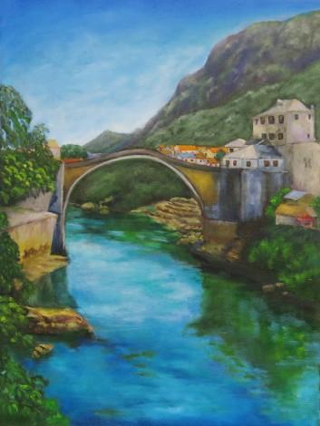 canvas oil painting of Mostar Bridge, Bosnia by Maureen Greenwood