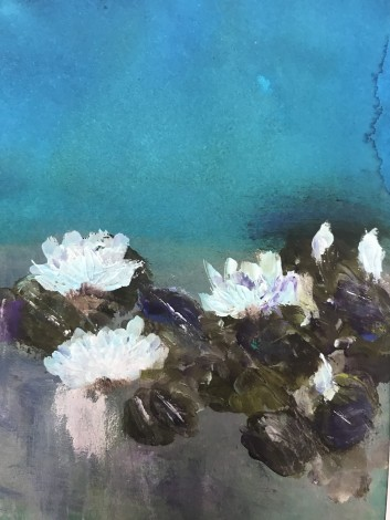waterlilies waterlily turquoise white green flowers ponds Monet