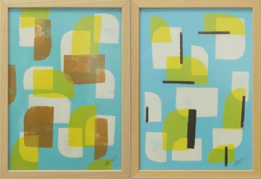 Yellow Blue Stacked - Diptych - Incl Frame