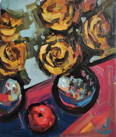 Yellow Rose Bouquet Still Life