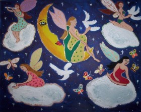 Heavenly fairies posing on clouds