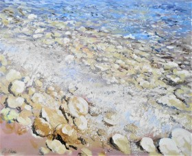 seaside, pebbles on the beach, tides, surf, sunlight, affordable oil painting, peaceful, tranquil,Summer