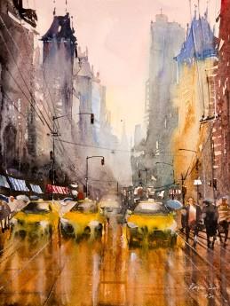 Busy street on a rainy day