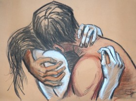 emotional couple kissing