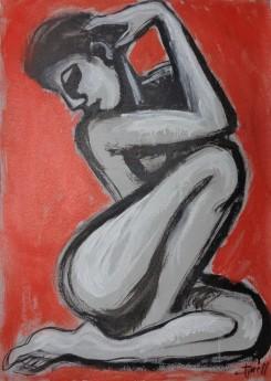 seated female nude, head turned