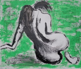 back curves female nude on green