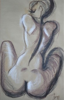 seated nude woman back