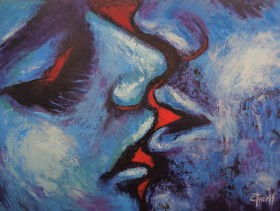 close-up man and woman face kissing