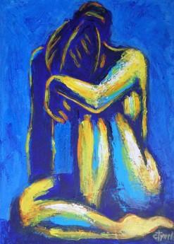 seated nude woman head on one knee