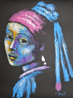 Girl With A Pearl Earring And Pink Scarf