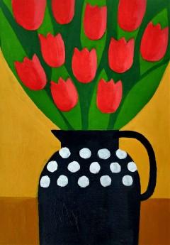 Red Tulips in a Black Jug II