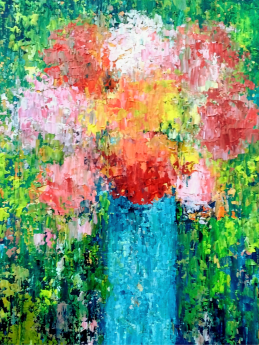 Summer Flowers in a Blue Vase IX