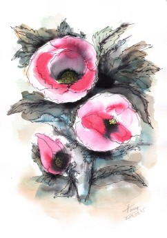 Abstract Poppies watercolor and ink on paper