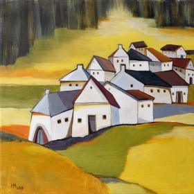 Village Near the Rapeseed Field - oil on canvas