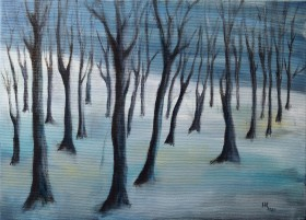 The Frozen Forest - oil on canvas