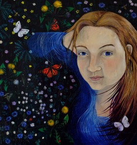 Lying in the grass oil painting butterfly flowers girl love blue eyes Dawn Rodger original artwork