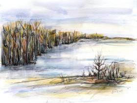 At the Lake watercolor painting