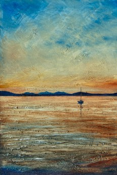 Boat at Sunset in oil.