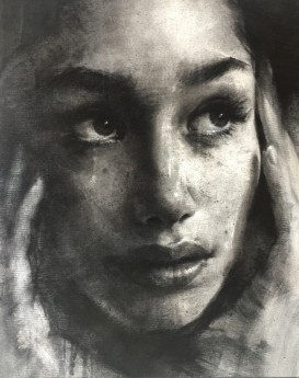 Canvas on panel, contemporary painting,charcoal portrait