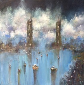 Tower bridge  London art City Impressionist  Monet