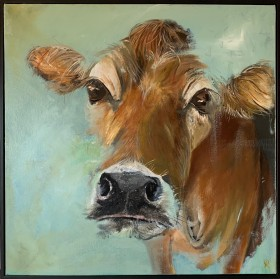 An expressionistic style painting of a Jersey cow that has been done with oils on a box canvas.