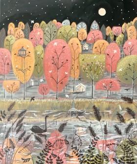 Autumn lake-landscape painting