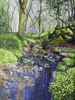 Painting of a brook in Springtime