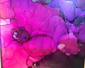 Poppy pink black abstract modern