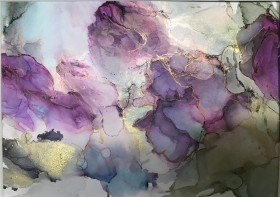 Abstract floral black roses flowers romantic gold purple black