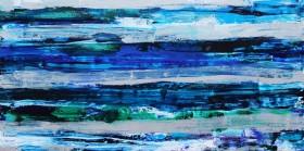 Blue unique abstract seascape painting