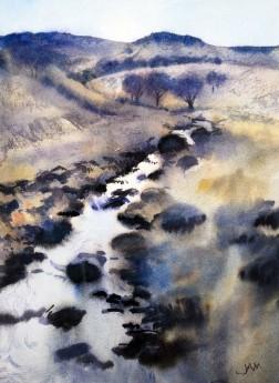 river blue ochre hills trees rocks water
