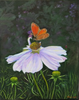 Canvas oil painting of a cosmos and gatekeeper butterfly, painted in oil by Maureen Greenwood.