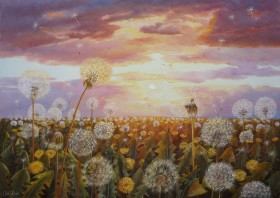 Landscape Dandelions in the Sun