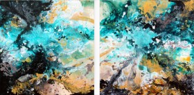 Modern acrylic abstract diptych painting