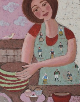 Domestic Bliss! Oil on canvas, expressionist, heavy textured surface