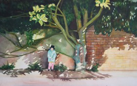 Girl under a tree