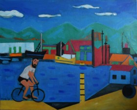 Blue Harbour  and cyclist Chasing Memories