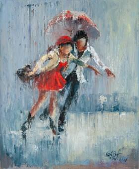 umbrella, rain, couple, running, city, town, street, raining, love, red, dress, girl, boy, meeting, date, seasons, spring, autumn