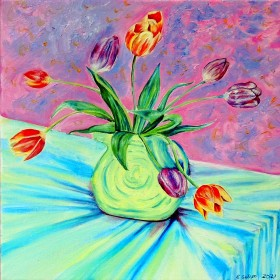 garden flower artfloral designpink flower paintingtulips in vaseSpring flower arttulips still lifeTulip flowers
