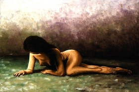 Fine art original oil painting of a naked nude female in a shy modest discrete composition