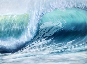 Emerald Waves II front of the painting