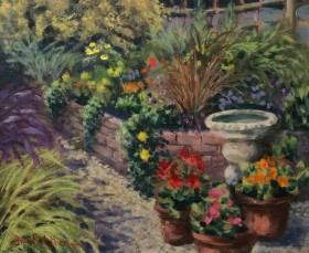 Raised bed oil painting by David Mather