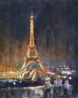 Paris light show oil painting by David Mather