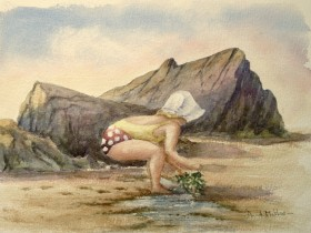 Collecting seaweed watercolour by David Mather
